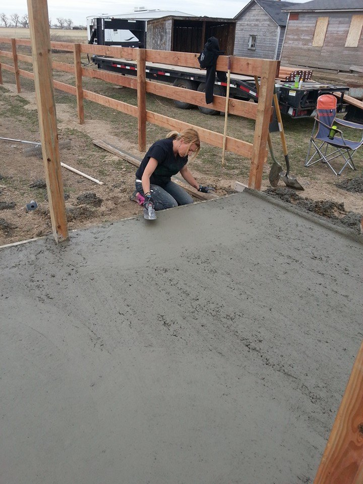 Look!  I'm helping with the concrete!